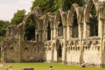 The remains of the abbey in the sunshine