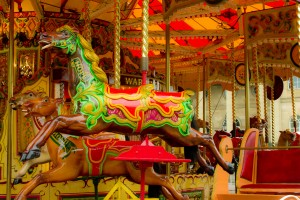 A traditional carousel outside Clifford's Tower