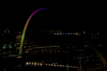 The Millennium Bridge is lit with ever changing colours each night