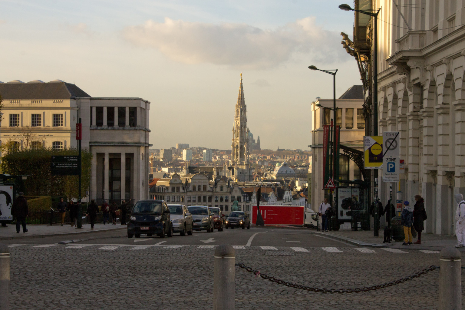 A nice first look down into Brussels proper, with the grand spire of the town hall dominating