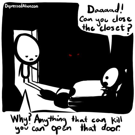 Title Text: Alien is afraid of the dark. Still.