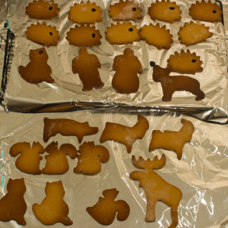 Baked especially for Heather, gingerbread hedgehogs and a range of other creatures