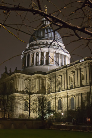The illuminated St Paul's made a nice sight on returning from the museum