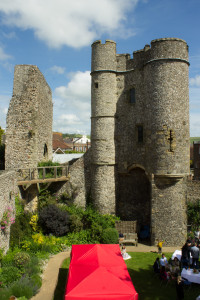 The barbican and the only remaining wall of the Norman gatehouse