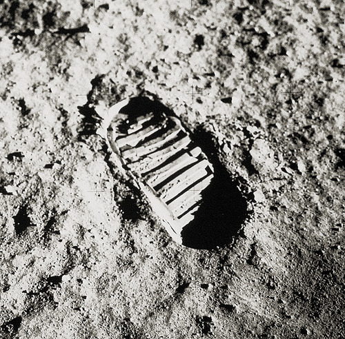 A footprint left on our Moon