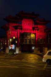 The Chinese arch lit blood red