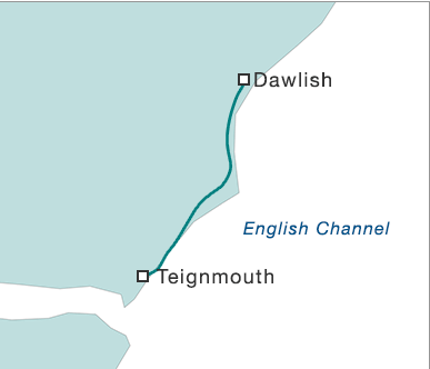 BBC map tricking the mind into thinking the railways have tunnelled to Dawlish