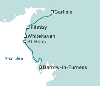 A detail map from the BBC, showing sea as white and land as blue/green