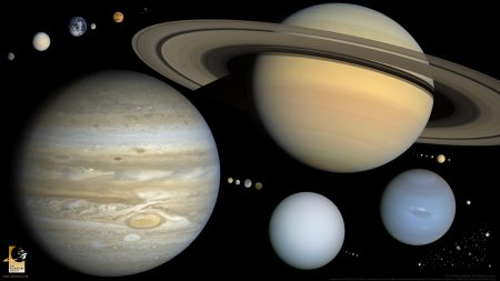 Spherical objects in the solar system, drawn to scale