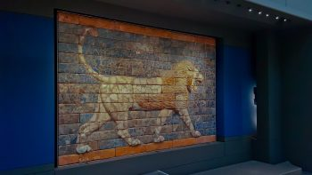 A marvelous fired brick mozaic lion