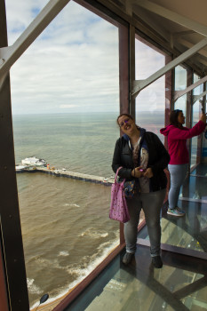 Walking on the glass viewing platform