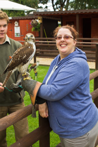 Heather with the friendly buzzard