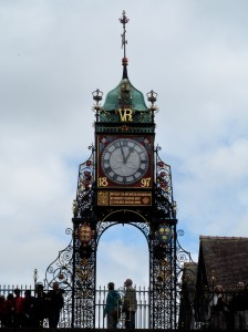 The clock atop the eastgate