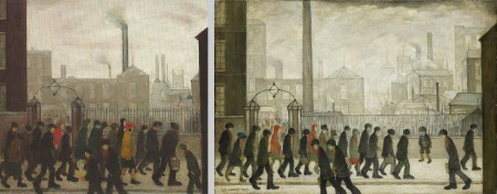 Comparison of Lowry's People Going To Work (1929, left) and Returning From Work (1934, right)