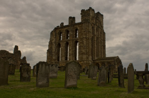 The clouds gather over the priory, a reminder of how inhospitable the headland could be