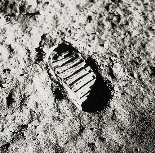 A footprint left on our Moon