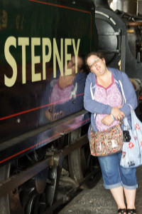 Heather with her favourite engine