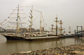 The tall ships moored up at Woolwich