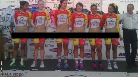 A Columbian women's cycling team (censored)