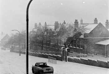 Brighton Avenue infants in a blanket of snow. Probably late 1980s, early 1990s