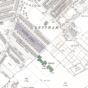 Scanned section of the old OS map, with Brighton Avenue (now road) and the school highlighted