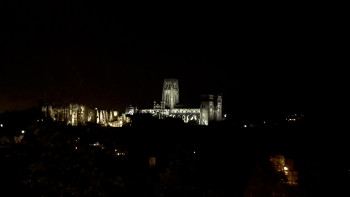 Looking over Durham to the castle and cathedral