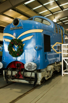 The startling blue Deltic in festive mood