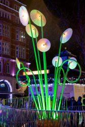 Strange alien plants of light in Leicester Square
