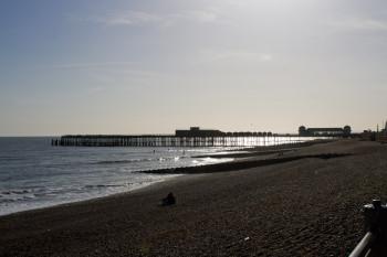 A backlit restored pier